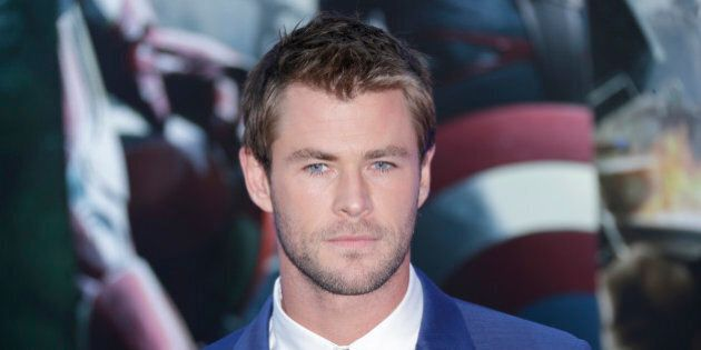 Chris Hemsworth poses for photographers upon arrival at the premiere for the film 'The Avengers Age of...