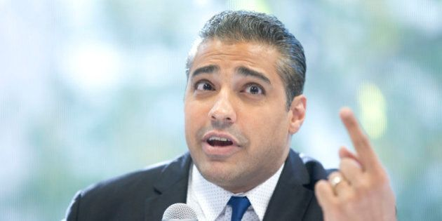 TORONTO, ON - OCTOBER 13: Former Al Jazeera journalist Mohamed Fahmy held a press conference at Ryerson...