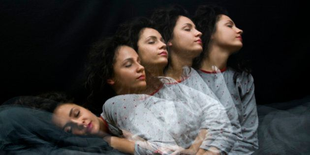 Multiple exposure of sleeping girl getting up