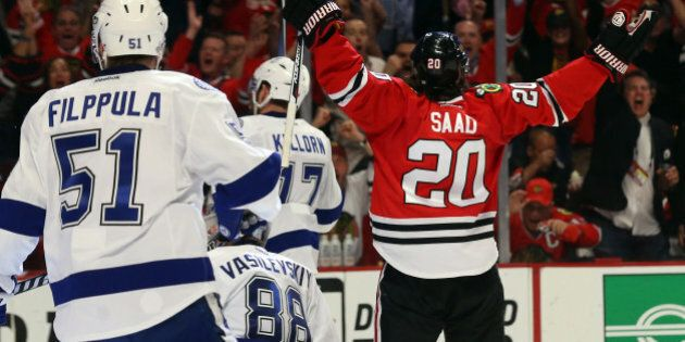 CHICAGO, IL - JUNE 10: Brandon Saad #20 of the Chicago Blackhawks celebrates after scoring a goal in the third period against Andrei Vasilevskiy #88 of the Tampa Bay Lightning during Game Four of the 2015 NHL Stanley Cup Final at the United Center on June 10, 2015 in Chicago, Illinois. (Photo by Bruce Bennett/Getty Images)