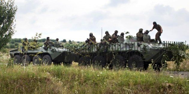 Ukrainian Government forces patrol the area at Bobovysche village near Mukacheve, Ukraine, Monday, July...
