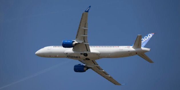 A Bombardier CS300 C Series aircraft, manufactured by Bombardier Inc., performs a flying display on day...