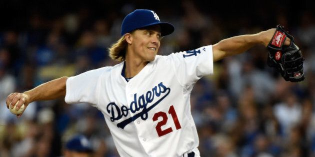 LOS ANGELES, CA - APRIL 18: Zack Greinke #21 of the Los Angeles Dodgers pitches in the third inning against...