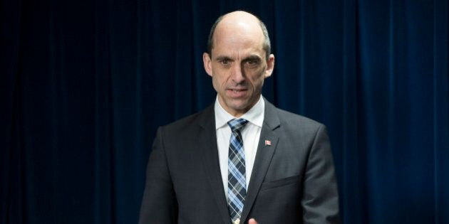 Canadian Minister of Public Safety and Emergency Preparedness Steven Blaney speaks in Washington, Monday, March 16, 2015, during a ceremony to sign a preclearance agreement as part of the Beyond the Border Initiative. According to the Homeland Security Department, the agreement will allow