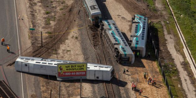 OXNARD, CA - FEBRUARY 24: A Metrolink train derailed after colliding with a vehicle on the tracks February...