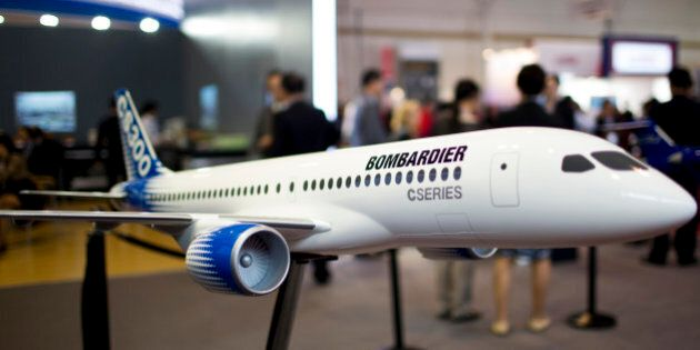 A model of a Bombardier Inc. CS300 jet stands on display during the China International Aviation & Aerospace...