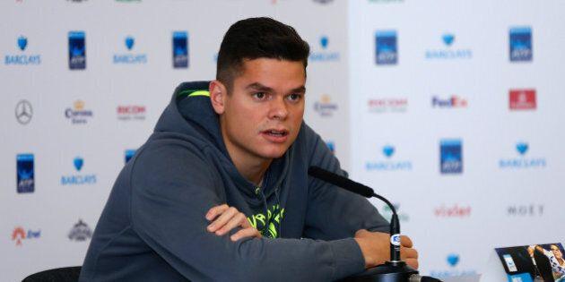 LONDON, ENGLAND - NOVEMBER 07: Milos Raonic of Canada talks to media during the Barclays ATP World Tour...