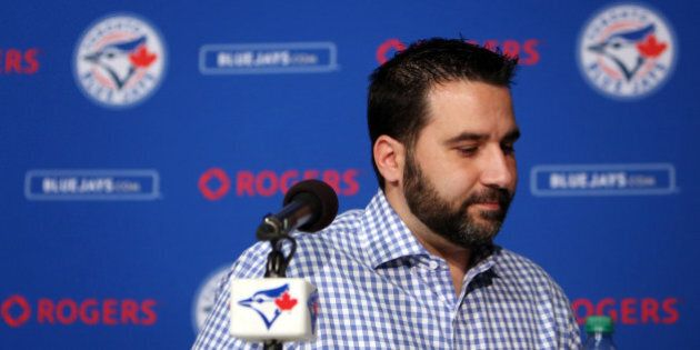 Toronto, Canada - July 31 - Blue Jays General Manager Alex Anthopoulos speaks to the media after trade...
