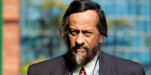 Chairman of the Intergovernmental Panel on Climate Change Rajendra Pachauri, arrives for a press conference...