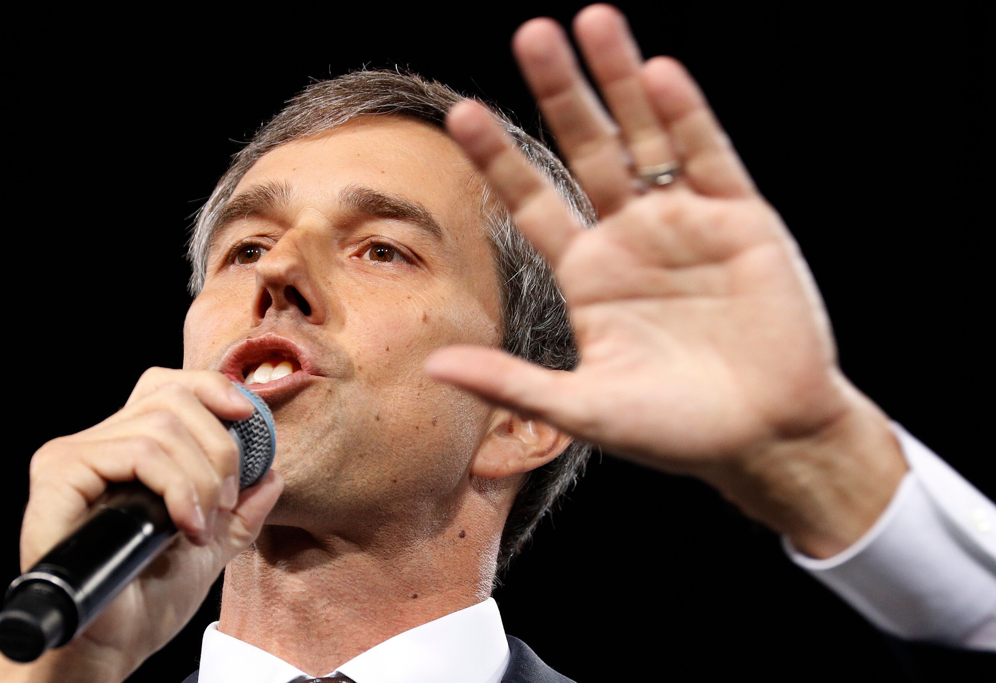 Democratic presidential candidate and former Texas congressman Beto O'Rourke speaks at a Service Employees International Union forum on labor issues, Saturday, April 27, 2019, in Las Vegas. (AP Photo/John Locher)