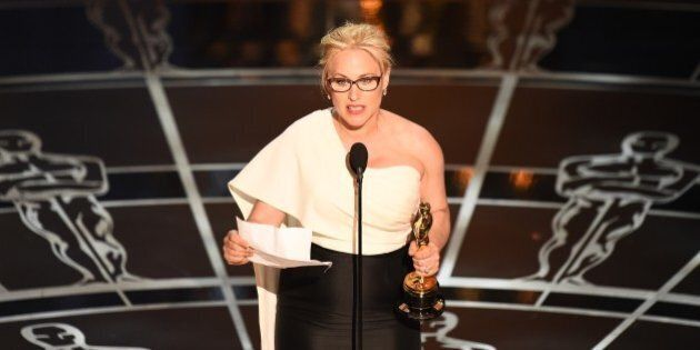 Winner for Best Supporting Actress Patricia Arquette accepts her award on stage at the 87th Oscars February 22, 2015 in Hollywood, California. AFP PHOTO / Robyn BECK        (Photo credit should read ROBYN BECK/AFP/Getty Images)