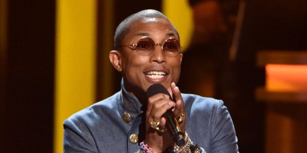 LOS ANGELES, CA - FEBRUARY 10:  Recording artist Pharrell Williams performs onstage during Stevie Wonder: Songs In The Key Of Life - An All-Star GRAMMY Salute at Nokia Theatre L.A. Live on February 10, 2015 in Los Angeles, California.  (Photo by Kevin Winter/WireImage)