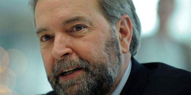Tom Mulcair, leader of Canada?s main opposition New Democratic Party, speaks during an interview in New...