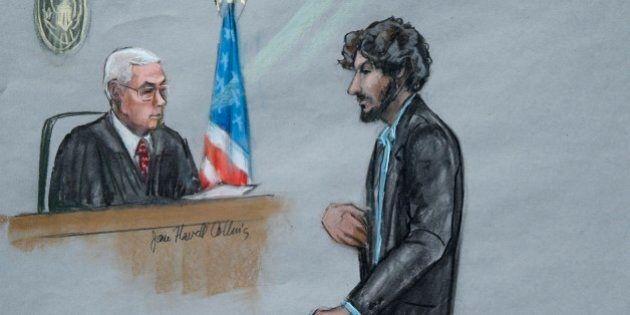 FILE - In this June 24, 2015, file courtroom sketch, Boston Marathon bomber Dzhokhar Tsarnaev, right,...