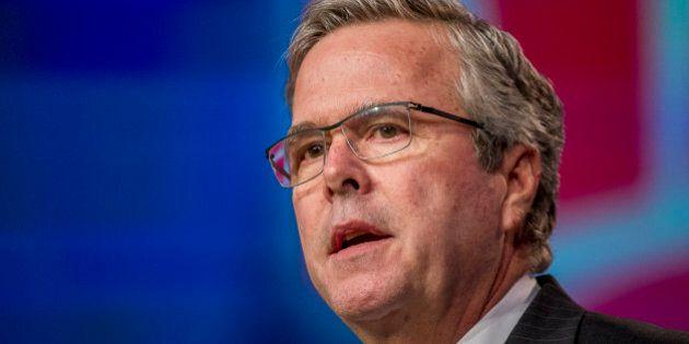 Jeb Bush, former governor of Florida, speaks during a keynote session at the National Automobile Dealer...