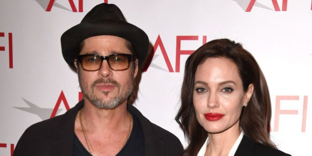 BEVERLY HILLS, CA - JANUARY 09:  Brad Pitt and Angelina Jolie arrives at the 15th Annual AFI Awards at Four Seasons Hotel Los Angeles at Beverly Hills on January 9, 2015 in Beverly Hills, California.  (Photo by Steve Granitz/WireImage)