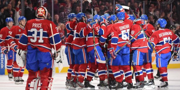 MONTREAL, QC - JANUARY 20: The Montreal Canadiens players celebrate the victory against the Nashville...