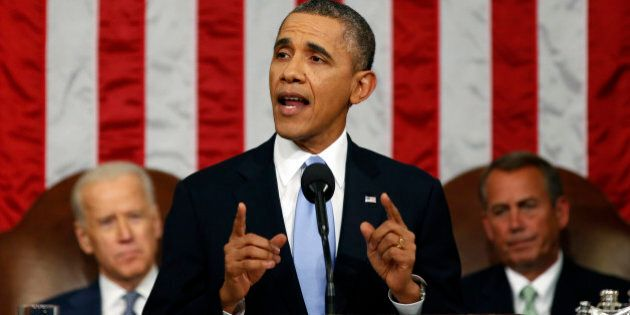 President Barack Obama delivers the State of Union address before a joint session of Congress in the...