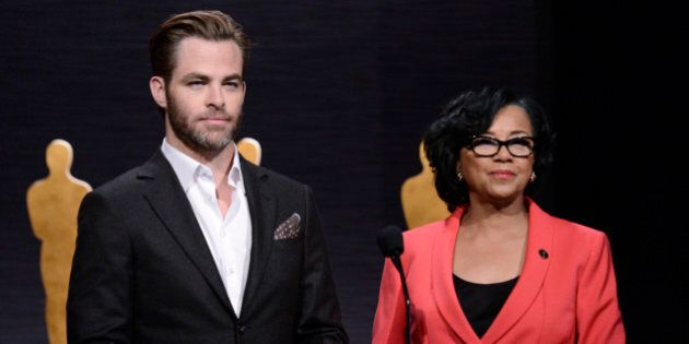 Chris Pine, left, and Academy President Cheryl Boone Isaacs announce the Academy Awards nominations at...