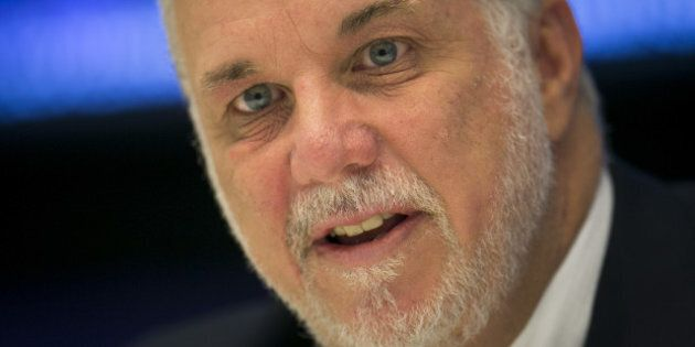 Philippe Couillard, Quebec's premier, speaks during an interview in New York, U.S., on Tuesday, Sept....