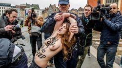 Des manifestantes aux seins nus de Femen s'invitent au procès de Dominique Strauss-Kahn