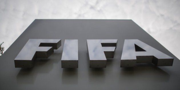 Picture shows the logo of the FIFA in front of the organisation's head office in Zurich on September...