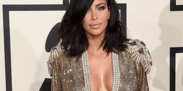 LOS ANGELES, CA - FEBRUARY 08:  TV personality Kim Kardashian attends The 57th Annual GRAMMY Awards at the STAPLES Center on February 8, 2015 in Los Angeles, California.  (Photo by Jason Merritt/Getty Images)