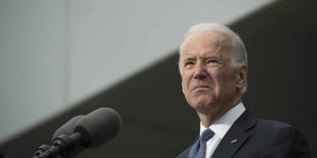 US Vice President Joe Biden speaks during the dedication of the Edward M. Kennedy Institute for the United...