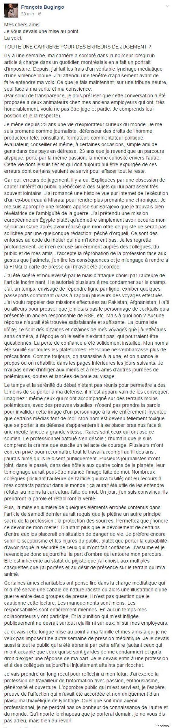 L'intégralité de la lettre de François Bugingo publiée sur