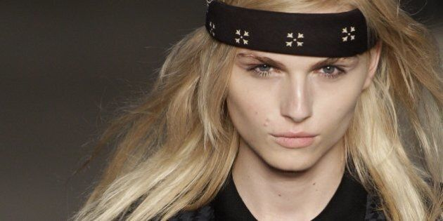 Androgynous male model Andrej Pejic wears a creation by Auslander during the Fashion Rio Summer 2012 collection in Rio de Janeiro, Brazil, Saturday, June 4, 2011. (AP Photo/Felipe Dana)