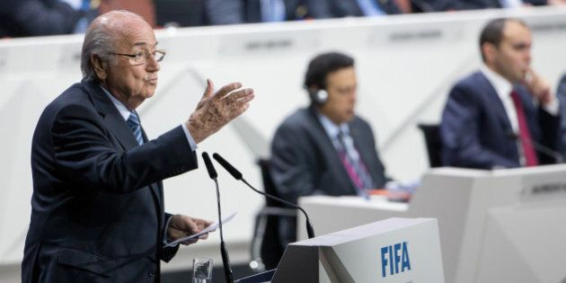 ZURICH, SWITZERLAND - MAY 29: FIFA President Joseph S. Blatter speaks during the 65th FIFA Congress at...