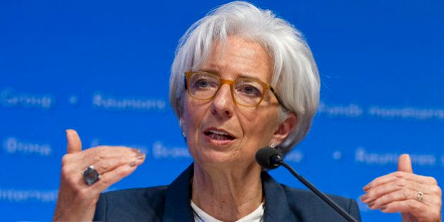 International Monetary Fund (IMF) Managing Director Christine Lagarde, speaks during a news conference...