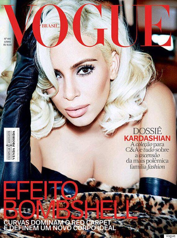 Kim Kardashian blonde en Une du Vogue Brésil