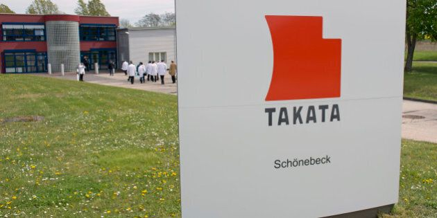 FILE - In this Thursday, April 17, 2014, file photo, journalists visit Takata Ignition Systems in Schoenebeck,...