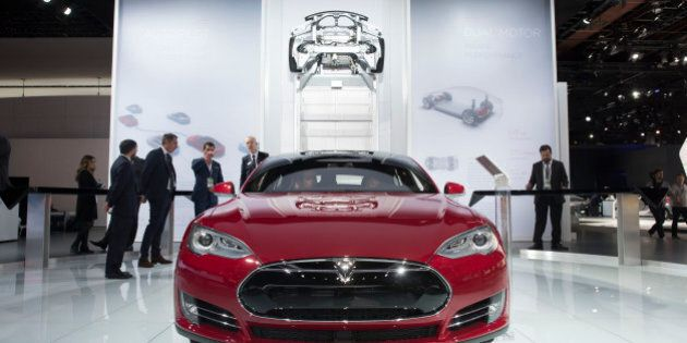 A Tesla Motors Inc. Model S P85D vehicle is displayed at the 2015 North American International Auto Show...