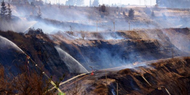 In this Feb. 25, 2014, photo provided by the Incident Control Centre, a fire burns at the Hazelwood Coal...