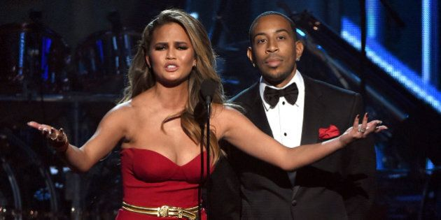 LAS VEGAS, NV - MAY 17: Hosts Chrissy Teigen (L) and Ludacris speak onstage during the 2015 Billboard...