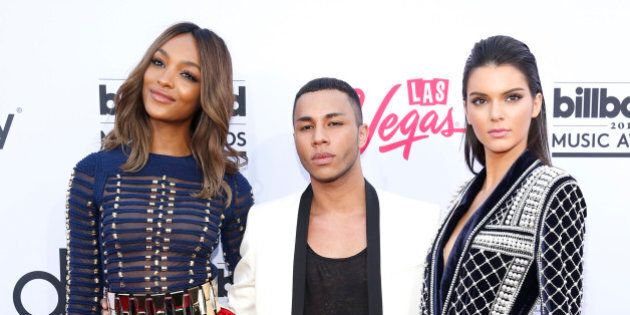 Jourdan Dunn, from left, Olivier Rousteing, and Kendall Jenner arrive at the Billboard Music Awards at the MGM Grand Garden Arena on Sunday, May 17, 2015, in Las Vegas. (Photo by Eric Jamison/Invision/AP)