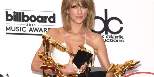 LAS VEGAS, NV - MAY 17: Musician Taylor Swift poses in the press room with her eight Billboard Music...