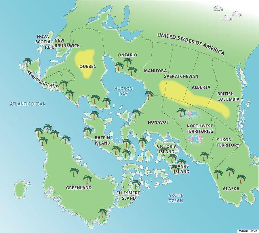 Cette carte à l'envers du Canada donne au nord du pays l'apparence des