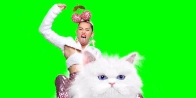 Miley Cyrus chevauche un grumpy cat géant pour promouvoir les MTV Video Music Award