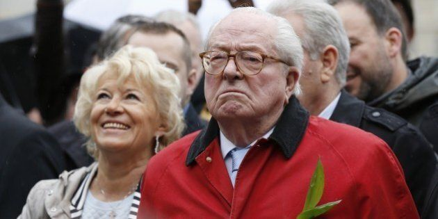 French far-right party Front National (FN) founder and honorary president Jean-Marie Le Pen looks on...