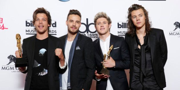 Louis Tomlinson, from left, Liam Payne, Niall Horan, and Harry Styles of the musical group One Direction...