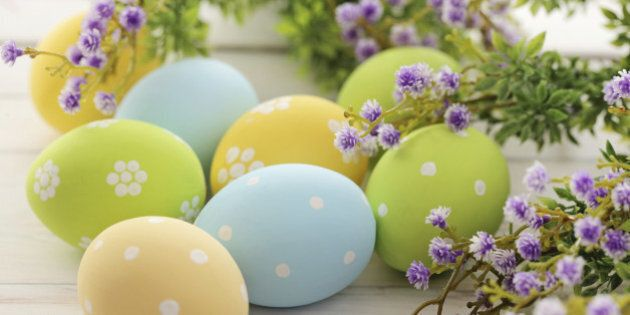 colorful easter eggs and branch with