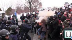 Manifestation contre les mesures d'austérité: une jeune femme blessée au visage