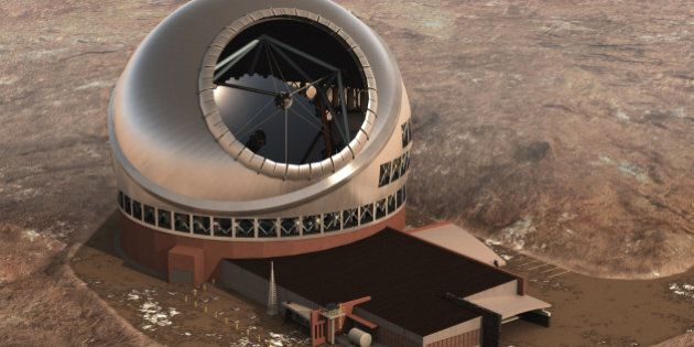 In this artist rendition provided by TMT, the Thirty Meter Telescope is seen. China and India have signed...