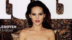 Virginie Ledoyen seins nus avec une chatte en couverture de