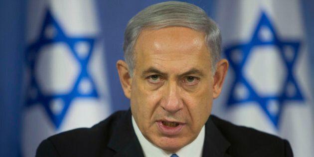 FILE - In this Aug. 2, 2014 file photo, Israeli Prime Minister Benjamin Netanyahu speaks to the media...