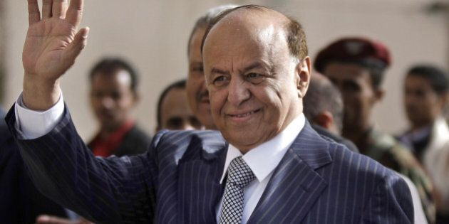 FILE - In this Tuesday, Feb. 21, 2012 file photo,Yemen's then Vice President Abed Rabbo Mansour Hadi...