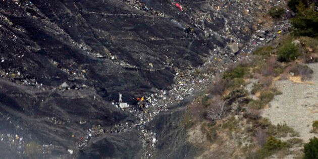 LA SEYNE LES ALPES, FRANCE- MARCH 24: Aerial view of crash site of Germanwings Flight 4U9525 in Seyne...